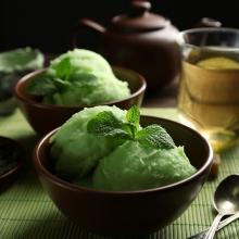 Fresh green tea frozen yogurt is the perfect treat on a hot summer day