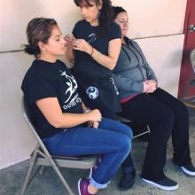AWB volunteer Rhonda Epstein treating evacuees in Southern CA
