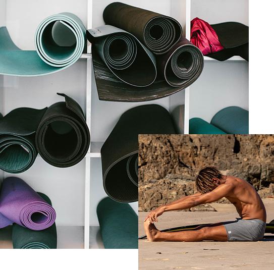 Yoga mats and man stretch at beach