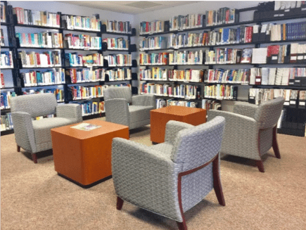 Chicago campus library remodeled lounge