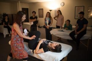 massage therapy school - classroom with instructor