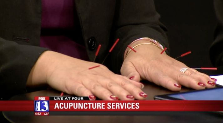 PCOM Alum Dr. Annie Budhatoki Demonstrates Acupuncture on Salt Lake City News Anchors