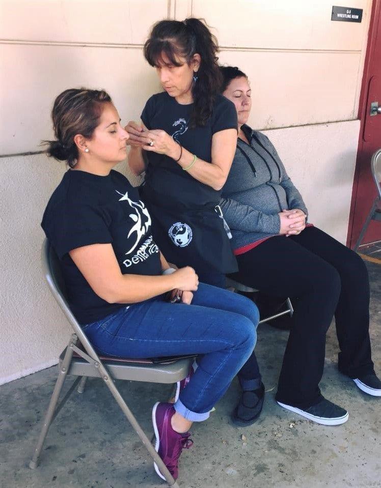 AWB volunteer Rhonda Epstein treating evacuees in Southern CA
