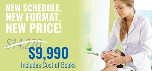 Promo art for massage program. $9,990 includes cost of books