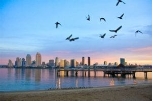 San Diego beach at sunrise