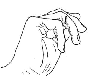 LINE DRAWING: This point is located on the ulnar side of the middle phalange of the ring finger, centered between the second and third finger creases, just palmar to the intersection of the red and white skin.