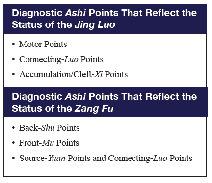 Table describing the two major categories of diagnostic ashi points.